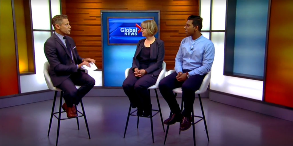 Image of Sue Gillespie and Kishan on Global News